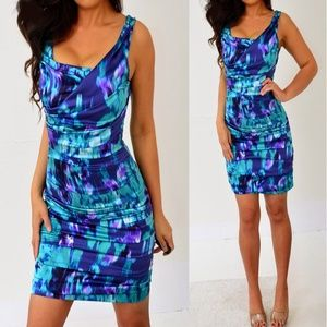 Express Blue Green Purple Silk Satin Dress 4 2 XS